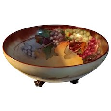 Antique Hand Painted T&V Limoges Footed Punch Centerpiece Bowl
