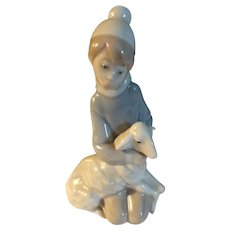 Original Vintage LLadro Boy With Sheep Figurine