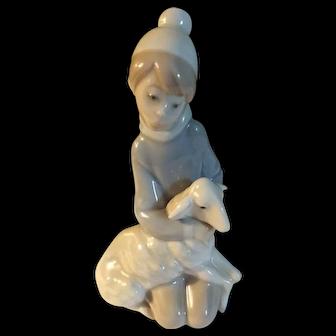 Original Vintage LLadro Boy With Sheep Figurine