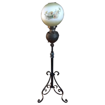 Antique Patent Date June 1891 Cast Iron & Brass Floor Piano Lamp