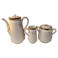 Antique Late 1800's Haviland Limoges Wedding Band Chocolate Tea Set
