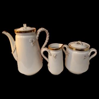 Antique Late 1800's Haviland Limoges Wedding Band Chocolate Tea Set