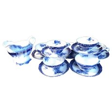 Antique Henry Alcock Flow Blue Creamer with 7 Teacups & Saucers Set