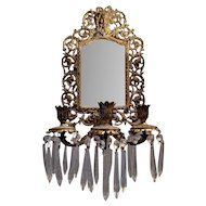 Antique Bradley & Hubbard Brass Mirrored Wall Sconce with Crystal Prisms