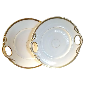 Two Haviland Limoges Gold Band Double Handled Serving Plates
