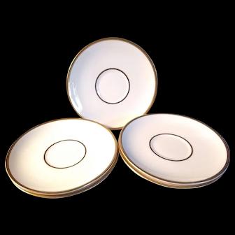Set of 6 Vintage Pope Gosser Coin Gold Cream Soup Saucers