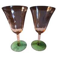 Pair of 2 Tiffin Swirl Optic Watermelon Wine Glasses