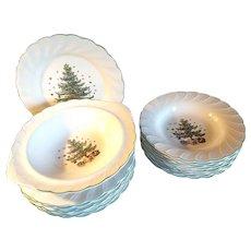 17 Piece Nikko Japan Christmas China 8 Dinner Plates, 8 Soup Bowls & Vegetable bowl