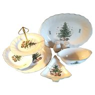 8 Piece Nikko Japan Christmas Tree Serving Set