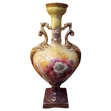 Beautiful Vintage Old Double Handled Hand Painted Mantle Vase