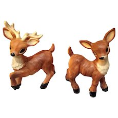 Vintage Deer Salt & Pepper Shakers Made In Japan