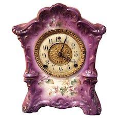 Antique Porcelain Gilbert Mantle Clock