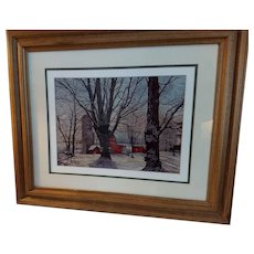 Large Vintage 1986 Thelma Winters Limited Edition Print Titled Maple Syrup Time