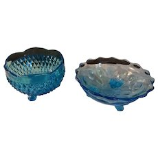 Pair of Vintage Fenton Footed Blue Glass Bowls