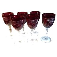 6 Vintage Ruby Red Wine Glasses with Clear Stems