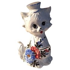 Vintage Hand Painted Porcelain Cat Bank Made in Italy