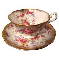 Royal Albert Pink Rose Gold Gilt Teacup & Saucer