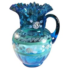 Victorian Blue Enamel Hand Painted Pitcher