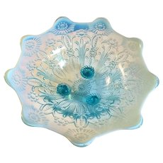 Ice Blue Footed Carnival Glass Bowl