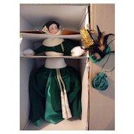 Vintage Franklin Heirloom Scarlett O'Hara Green Curtain Dress Doll New In Box