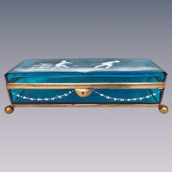 Mary Gregory victorian blue casket