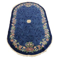 Vintage Deco style oval rug from China , Circa 1960's
