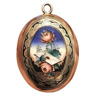Antique Victorian Enamel Locket Swallow, Roses, Love Letter