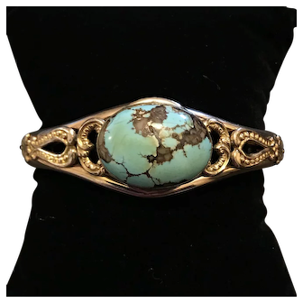 Antique Turquoise Cabochon Gold Filled Bangle by Finberg Manufacturing Jewelry Company F.M.Co.