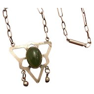 Arts & Crafts Sterling Silver Nephrite Jade Necklace