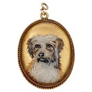 Antique C. 1890-1910 Reverse Painted Dog Essex Crystal Locket Pendant in 18K Gold