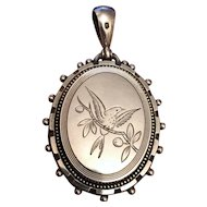 1879 English Sterling Silver Victorian Swallow Locket