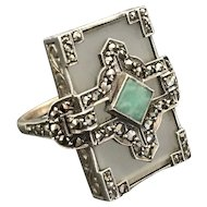 Art Deco Amazonite, Camphor Glass, & Marcasites in 9K Gold and Silver Ring