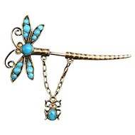 Victorian 900 Gilt Silver & Turquoise Dragonfly Bug Pin