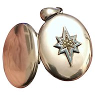 Antique Victorian Robin's Egg Blue Enamel Star Locket with Seed Pearls in Silver