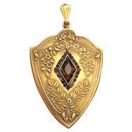 HUGE Art Nouveau W&H Co Amber Stone Repousse Locket in GF