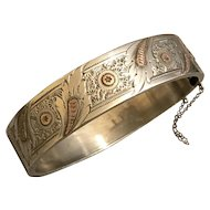 Antique Victorian 800 Silver & Rose Gold Etched Star Bangle