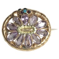 Georgian Ouroboros Snake Brooch in 10k Gold & Natural Amethysts