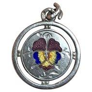 Antique Victorian c1900 Silver Enamel Pansy Flower Charm