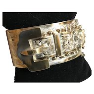 Antique 1883 Victorian Wide Engraved Silver Gilt BUCKLE  Bracelet with Cannonball Edges and Ivy