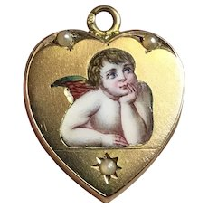 14k Gold Austro-Hungarian Marked Victorian Enamel Raphael's Angel/Cherub Locket
