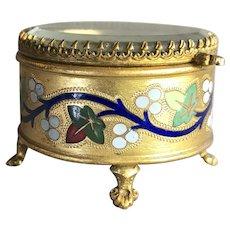 Antique Victorian Enamel & Jewelry / Ring / Trinket Box - Ormolu