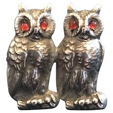 Unmarked Unger Bros. 3D Sterling Owl With Brooch Red Cabochon Eyes