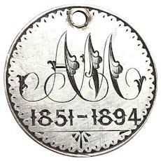 Antique Victorian English Memorial Love Token English Four Pence