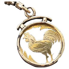 Rose Gold Etched ROOSTER Pendant Fob