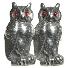 Unmarked Unger Bros. 3-D Sterling Owl Brooch Red Cabochon Eyes