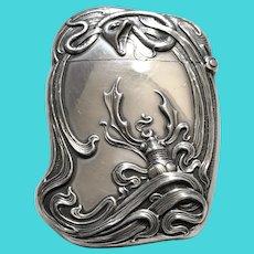 Art Nouveau Sterling Silver Snake & Stag Beetle Vesta Match Safe