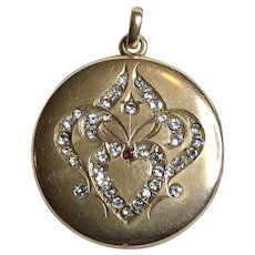 Antique Art Nouveau Round Heart Locket With Paste Stones in Gold Fill