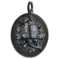 Antique Victorian Vulcanite Locket; Bible Verse Matthew 37