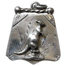 1887 Victorian English Birmingham Silver Kangaroo Locket Fob