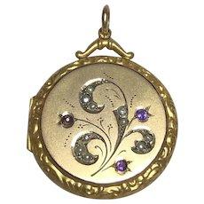 9k Gold Back & Front Victorian Amethyst Pearl Flower Locket